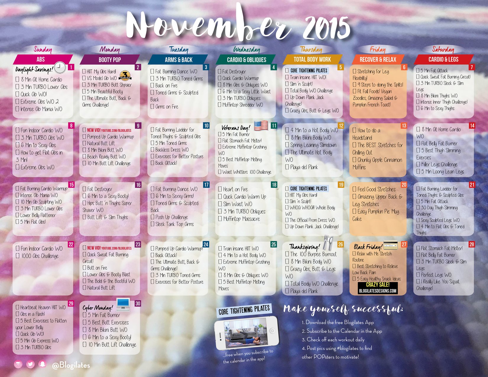 Blogilates November Workout Calendar | Fitness | Pinterest ...