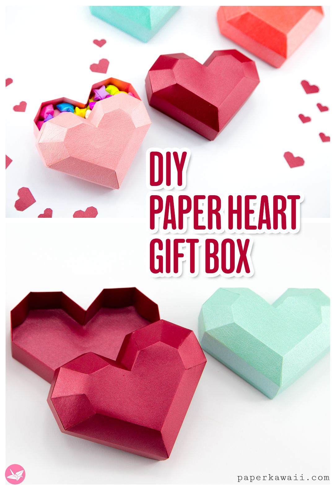 Paper Heart Box Tutorial With Images Gift Box Template Paper