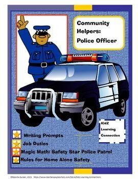 Community Helper Police Officer Literacy Activities Social Studies Class Community Helper
