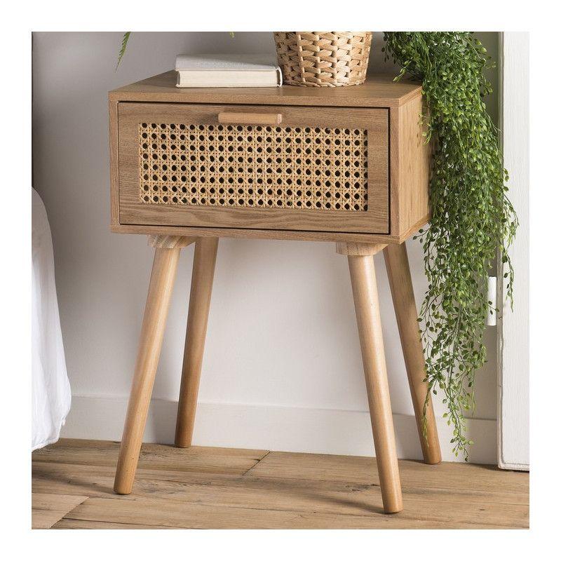 Table De Chevet Style Scandinave Aspect Frene Avec Tiroir En Cannage En 2020 Table De Chevet Table De Chevet Suspendue Chevet De Lit