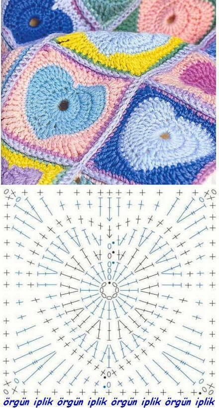 Granny-Square Herz Mehr | Patrones de ganchillo | Pinterest ...