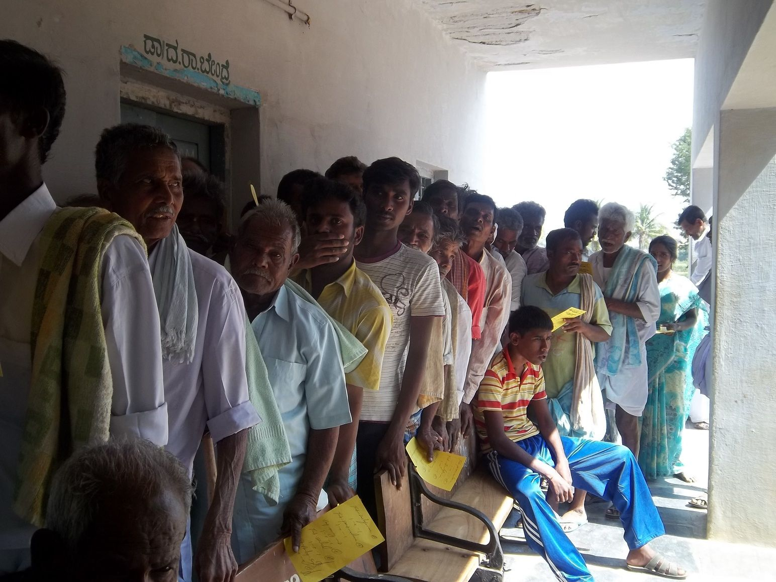 Patients waiting for their turn to receive their medicines