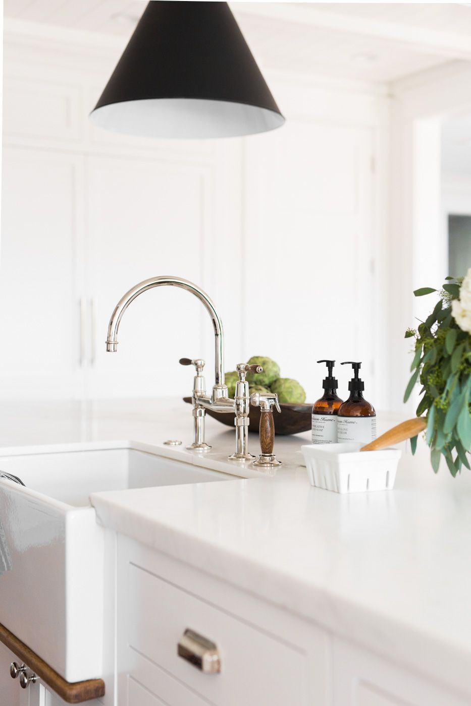 windsong project great room kitchen mudroom  studio mcgee  - waterworks faucet with wood handles  studio mcgee