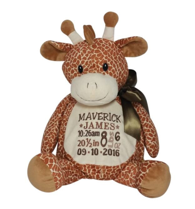 Personalized Giraffe Stuffed Animal Custom Embroidery Birth