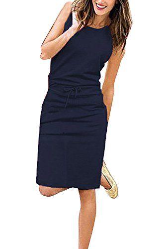 Yieune Sommerkleider Damen Abendkleid Ärmelloses Einfarbig ...