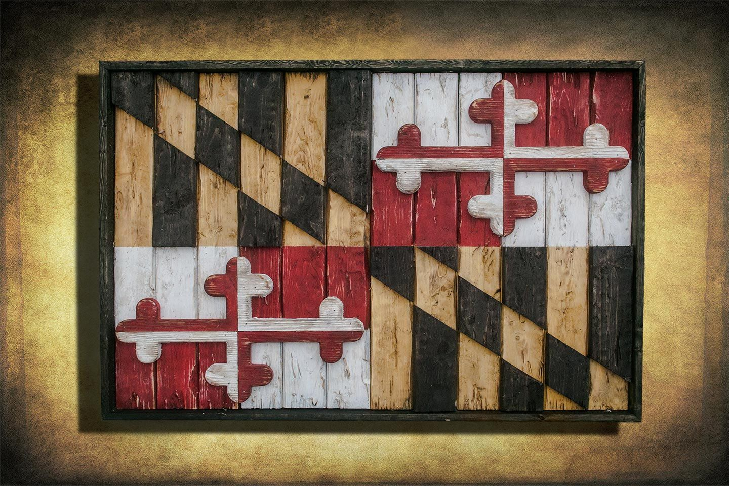 Maryland Flag, Limited Edition, Weathered Wood One of a ...