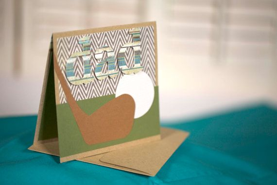 brown and green golf father's day card by cassandra7creates, $4.00