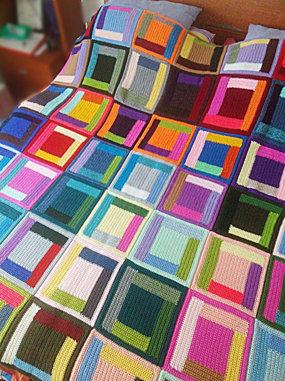 Crochet log cabin blanket Klimt Mondrian queen size weighted blanket ...