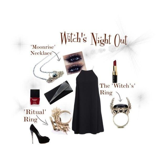 """Witch's Night Out!"" by rogueandwolf ❤ liked on Polyvore featuring мода, Casadei, Bobbi Brown Cosmetics, Judith Leiber, Butter London и NLY Trend"
