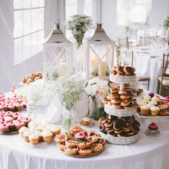 Wedding Reception Dessert Table: A Sweet Table Topped With Donuts, Cupcakes And Tarts Was