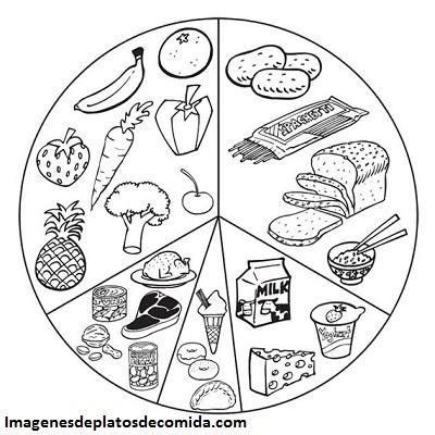 Cuatro fotos con dibujos de comidas saludables para colorear