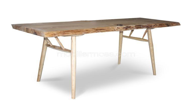 Table à manger style scandinave en bois brut massif - Steppe