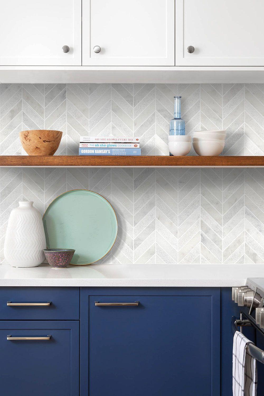 White Modern Marble Chevron Backsplash Tile Backsplash Com Kitchen Backsplash Designs Kitchen Marble Kitchen Wall Tiles