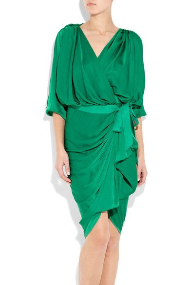 Jewel-green satin wrap-front dress. Lanvin dress has gathering at the shoulders, a V-neck, draped details, gathering details, a draped back, draped three-quarter length sleeves and a self-tie grosgrain ribbon waist belt. 100% polyester. Dry clean.