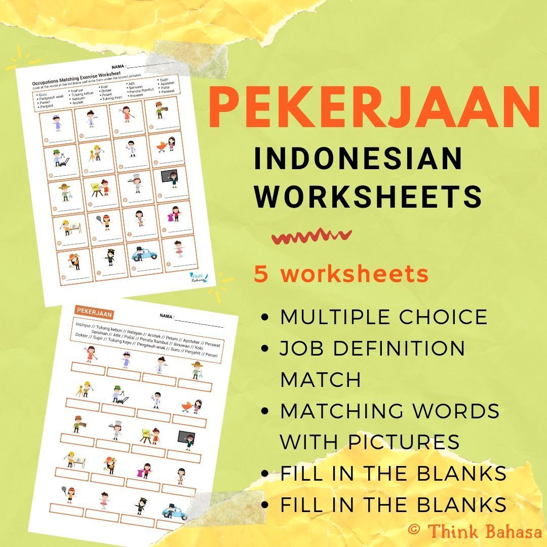 Jobs And Occupations In Indonesian Worksheets Amp Answer