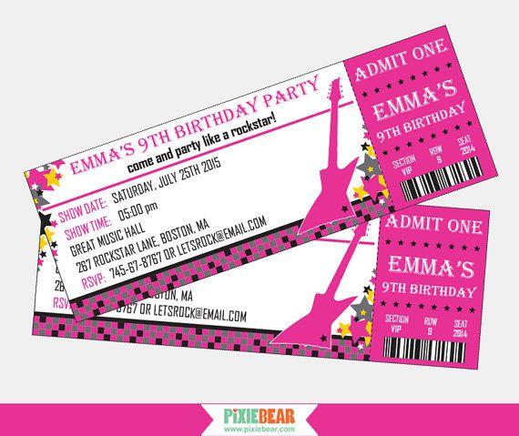 Rock Star Birthday Invitation Rockstar Party Invitation Rock