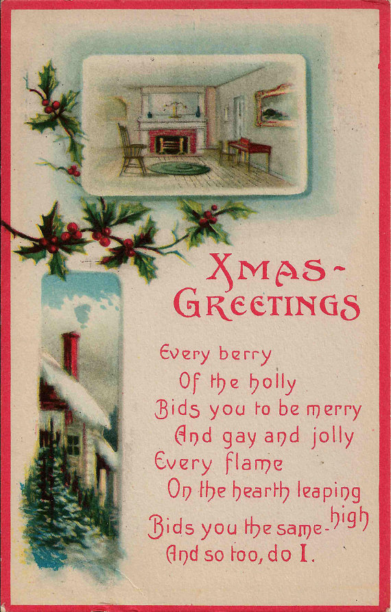 1917 antique postcard with lovely christmas greetings with warm fire 1917 antique postcard with lovely christmas greetings with warm fire by the hearth and snowy country m4hsunfo