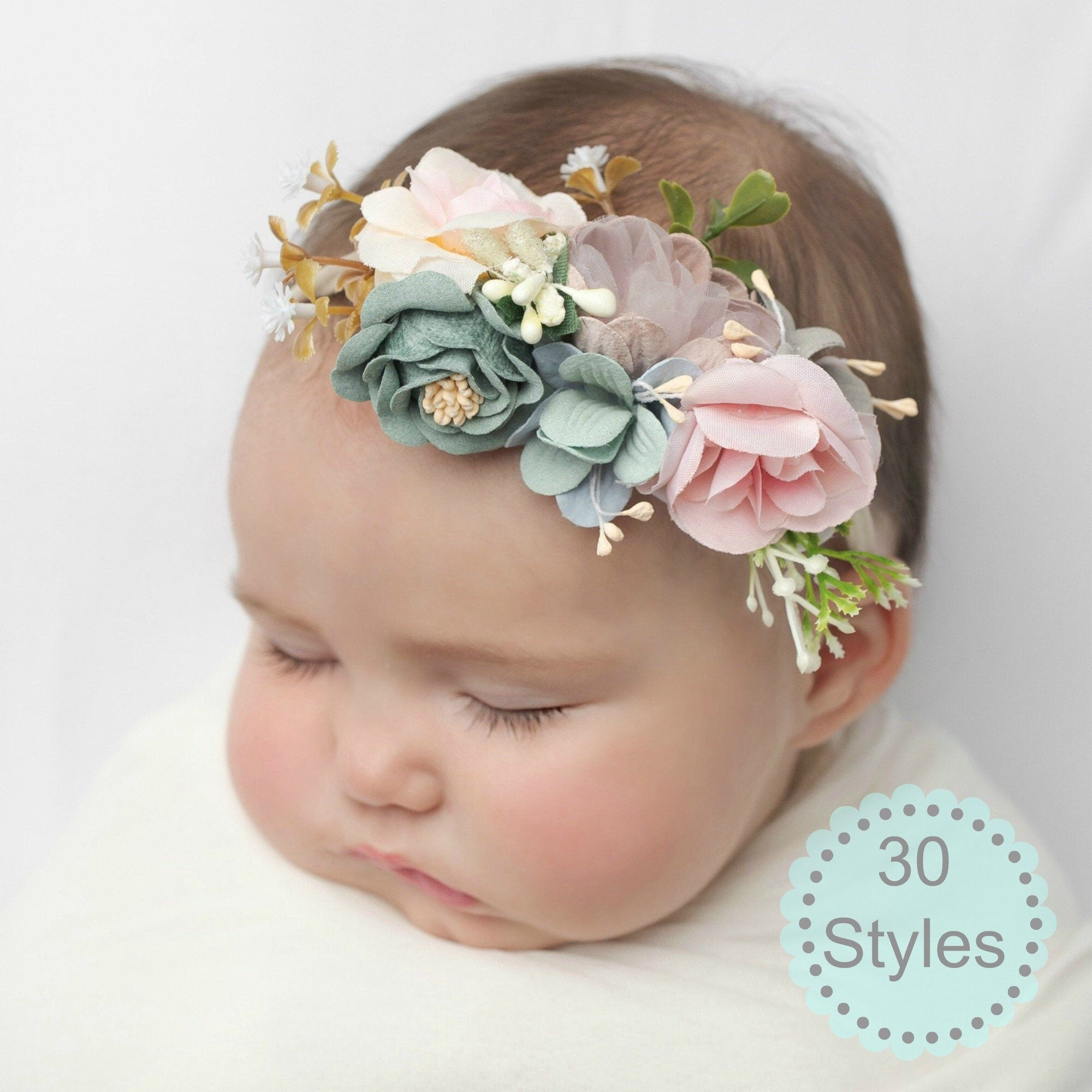 Baby Headband Flower Headband Flower Crown Floral Crown Baby Toddler Headband Flower Girl Headband Photo Prop Baby Gift Nylon Headband