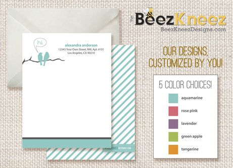 New #Giveaway Alert! #Win 1 of 3 Sets of 25 Personalized Designer Flat Notecards (ARV $45) from @thebeez_kneez! Click picture for easy entry form!