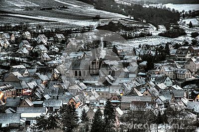 Village of Soultz les bains, Alsace (France). The photograph reflects the unique athmosphere of typical villages in Alsace during the winter period.