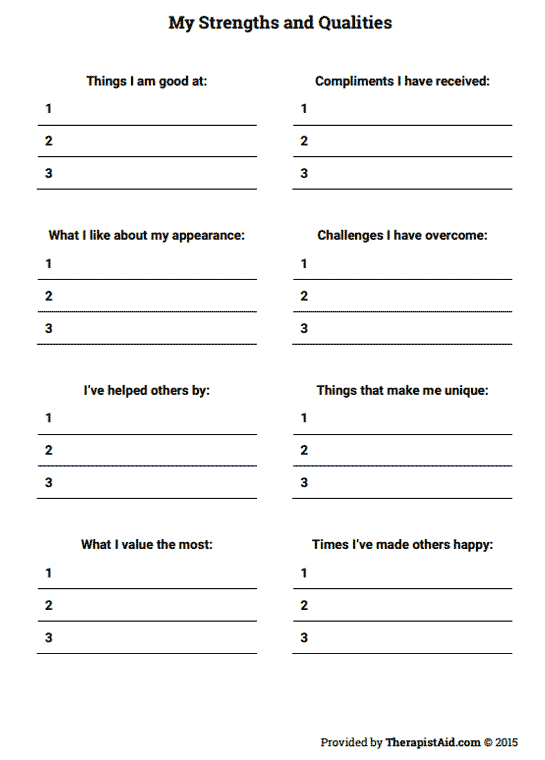 My Strengths And Qualities Worksheet Therapist Aid Self Esteem Worksheets Self Esteem Activities Therapy Worksheets