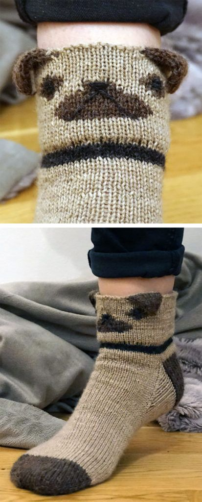 Free Knitting Pattern for Pug Socks | Knit Patterns ...