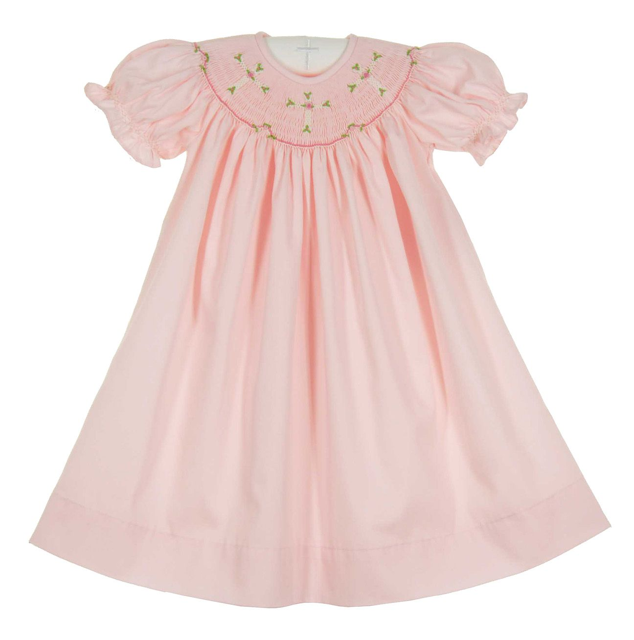 296ab170aa64 NEW Remember Nguyen Pink Bishop Smocked Dress with Embroidered Crosses  $40.00