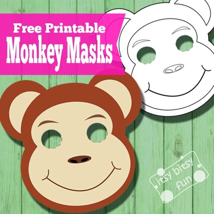 Printable Monkey Mask Template To Color Monkey Mask Monkey Crafts Animal Masks For Kids