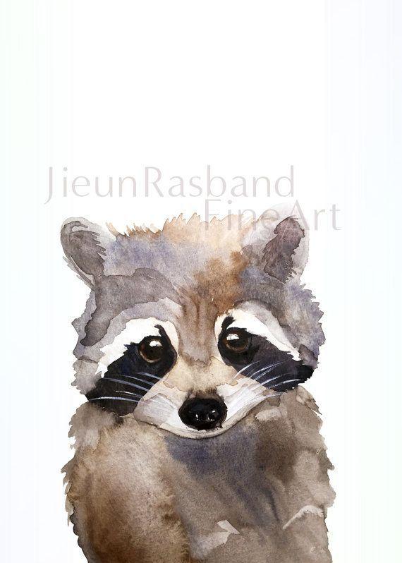 Great Little Child Raccoon - Acuarela de impresión fina. Este compañero es un artificial ... #acuarela #child #compa #great #impresion #little #raccoon