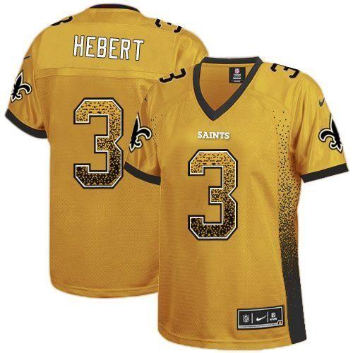 Nike Saints #3 Bobby Hebert Gold Women's Embroidered NFL Elite ...