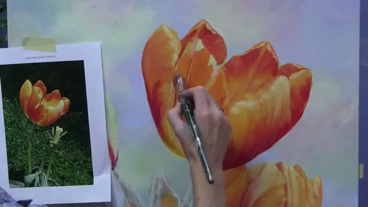 Free Online Workshop Painting Tulips By Marianne Broome Youtube