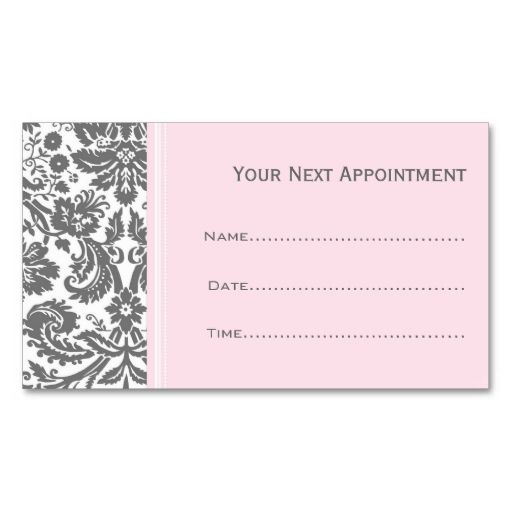 Pink Grey Damask Salon Appointment Cards Business Card Template - Appointment business card template