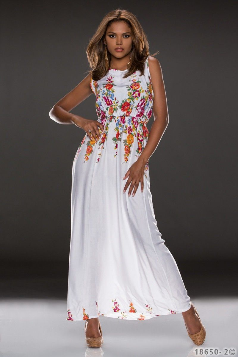 langes Sommerkleid mit Blumenmuster aus Baumwolle ...