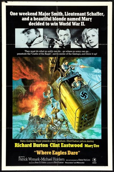 Where Eagles Dare 1 sheet movie poster. Clint Eastwood. Richard Burton. Art by Frank McCarthy