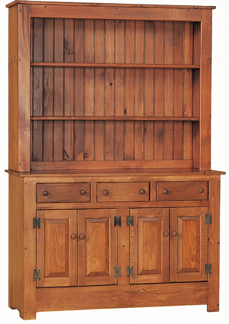 Amish Primitive Pine Wood Farmhouse Hutch