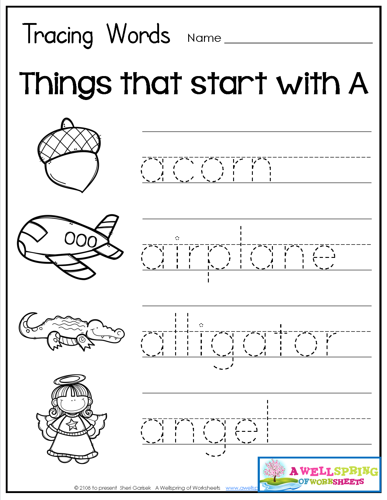 Tracing Words Things that Start with AZ Teaching