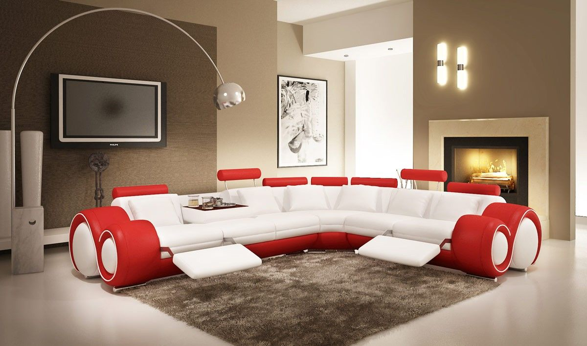 Cool Sectionals 4087 modern leather sectional sofa with recliners - 1695.0000