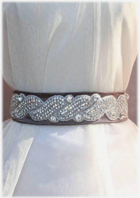 Wedding Crystal Beaded Satin Sash, Bridal Belt, Rhinestone Sash - Nadya Belt. $175.00, via Etsy.