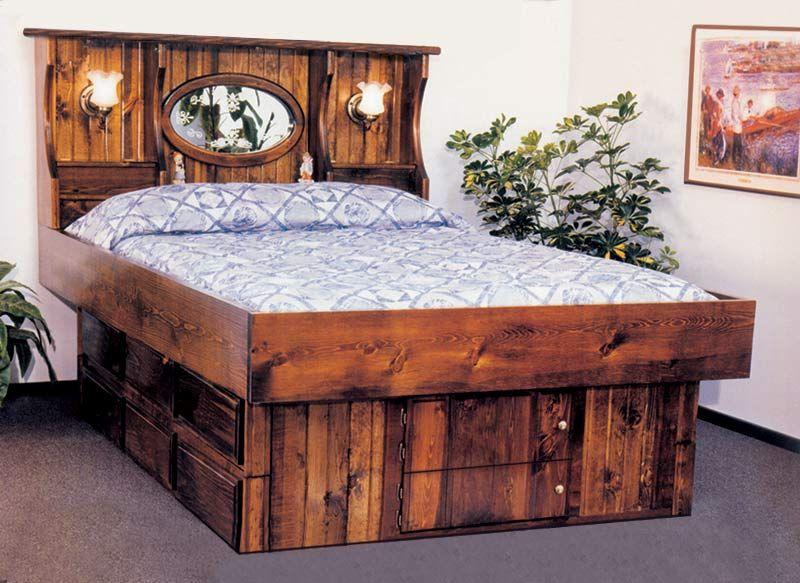 King Crestwood Wood Frame Waterbed With 12 Drawer Pedestal