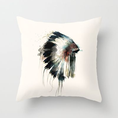 Headdress Throw Pillow by Amy Hamilton - $20.00