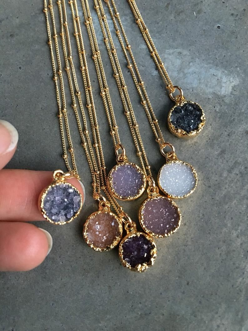 Druzy Quartz Necklaces, Druzy Jewelry, Crystal Druzy, aunt gift, bridesmaids jewelry, layering necklaces, stacked jewelry