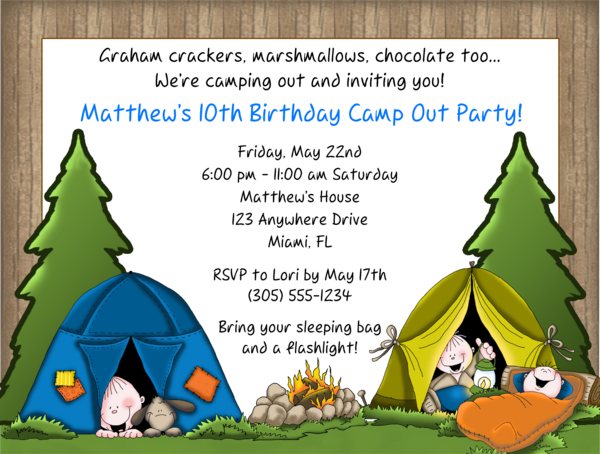camp out camping birthday party invitations camp out camping