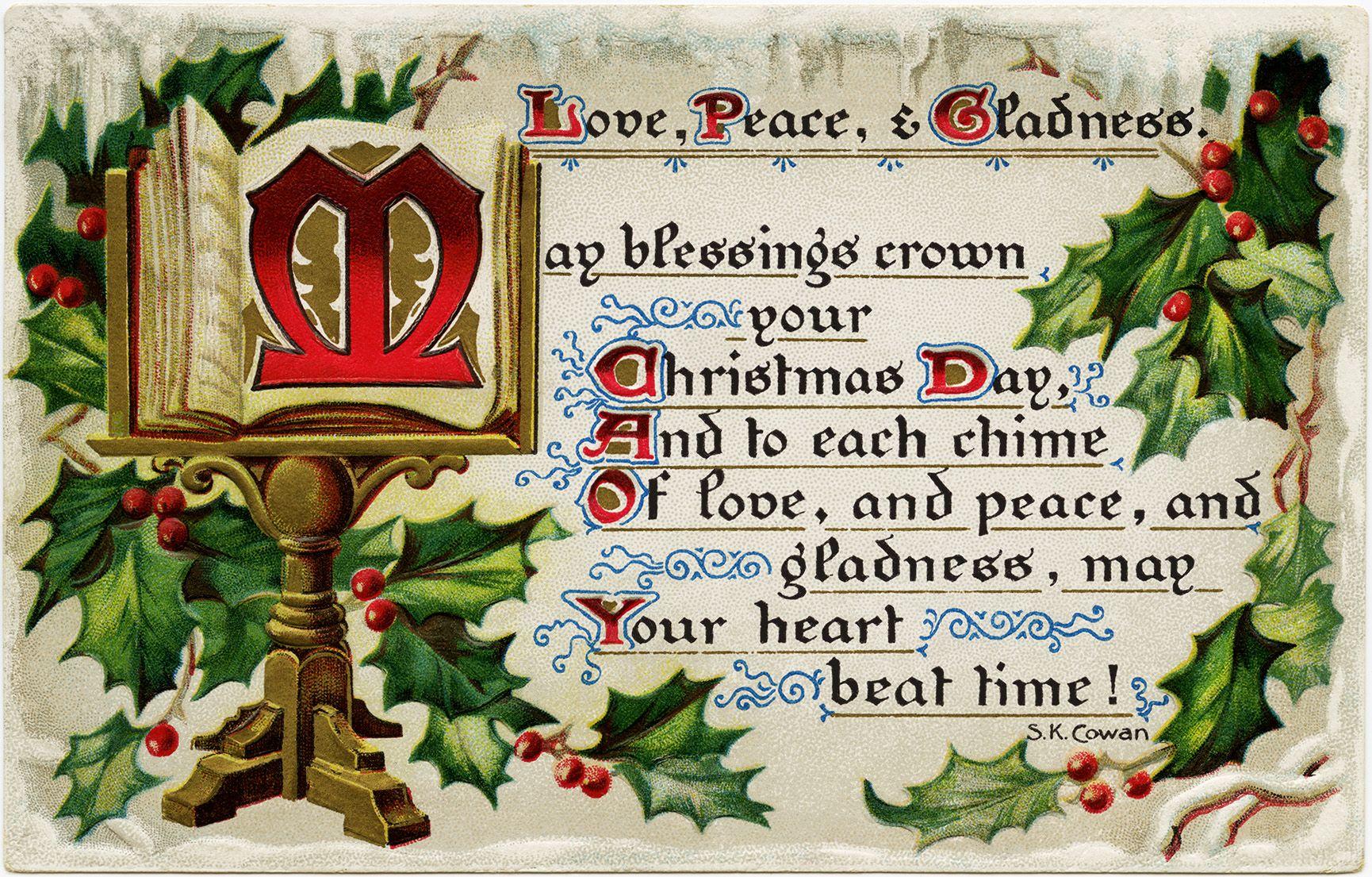 Love Peace Gladness Free Vintage Christmas Postcard Graphic Vintage Christmas Images Vintage Christmas Christmas Graphics