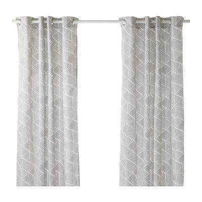 Ikea Nunnerort Pair Curtains Drapes 57 X 98 White Gray 2 Panels