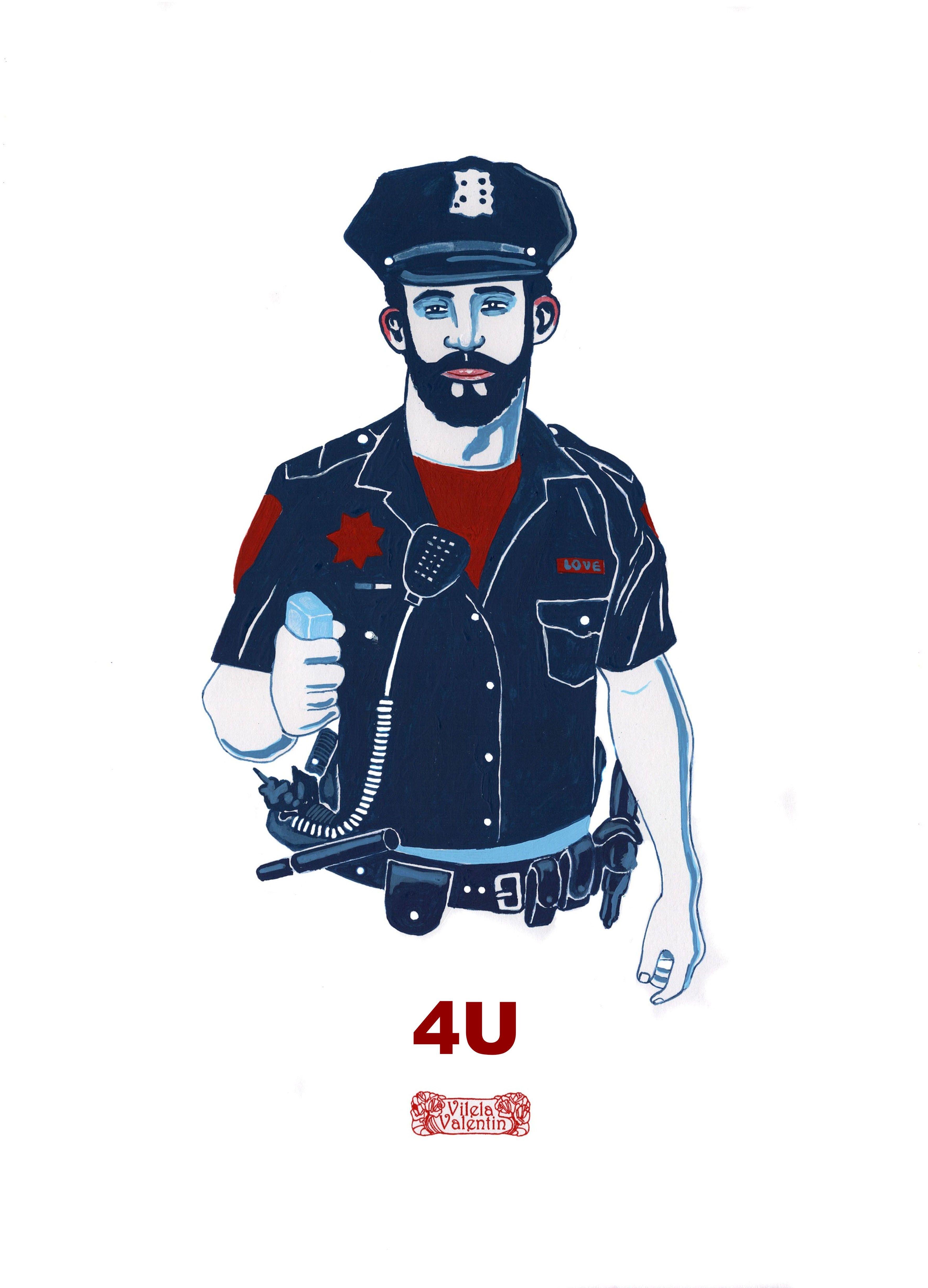 4U - Acrylic on paper  42,0cm de altura x 29,7cm - Vilela Valentin