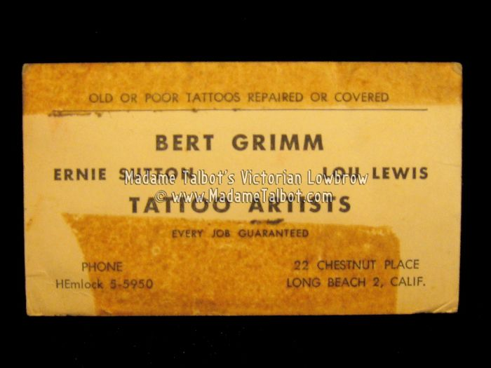Bert grimm tattoo business card madame talbot pinterest grimm bert grimm tattoo business card colourmoves Image collections