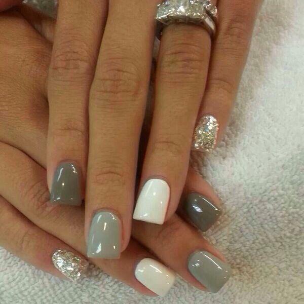 vernis blanc,doré, gris foncé et gris clair