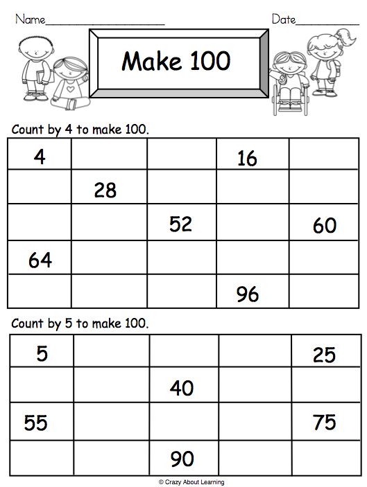 Math Worksheet Counting By 4s and 5s | Math, Math worksheets ...
