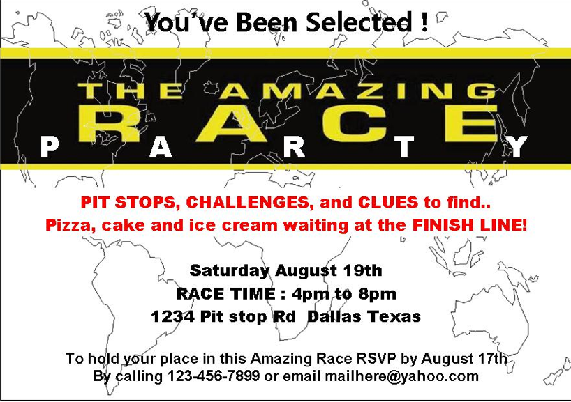 Amazing Race Party Free Printables Google Search