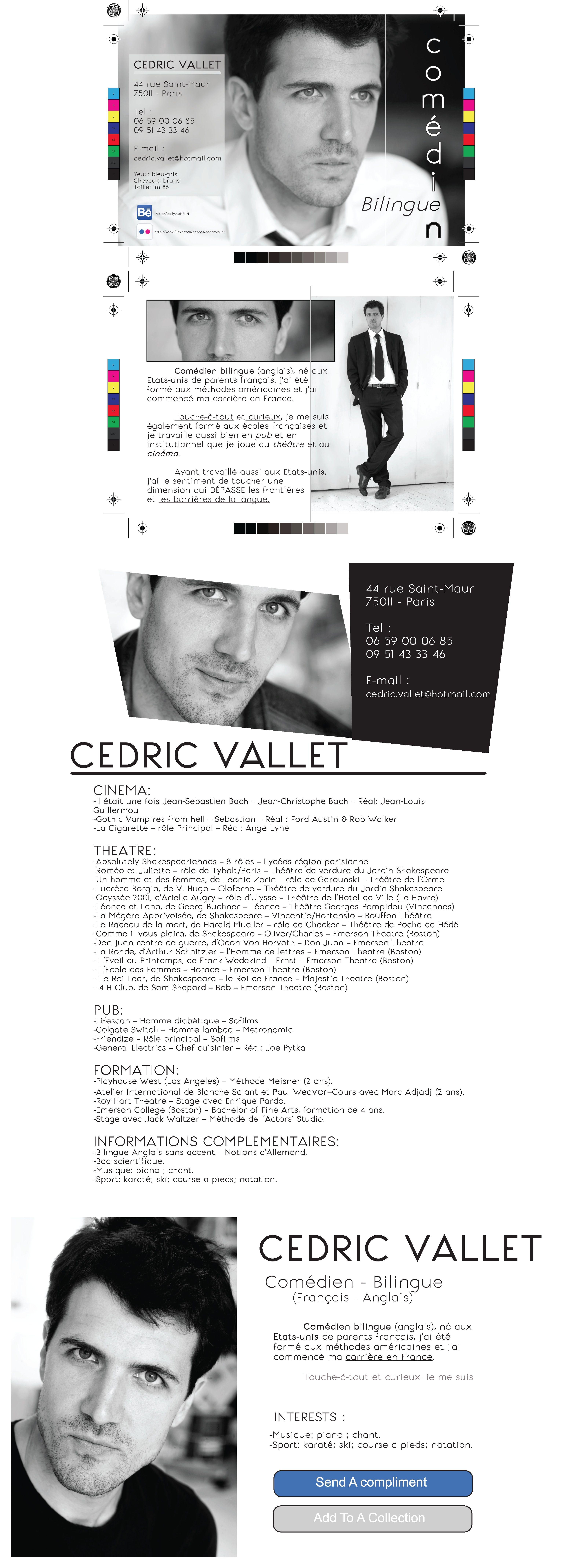 Epreuve Sur Table Profil Complet De Cedric Vallet Carte Visite Format Postale